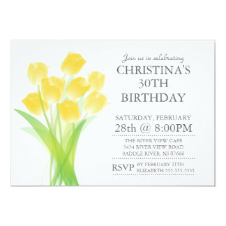 Modern Typographic Tulip Flowers Birthday Party Card