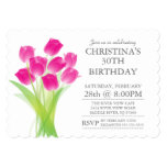 "Modern Typographic Tulip Flowers Birthday Party 5"" X 7"" Invitation Card"