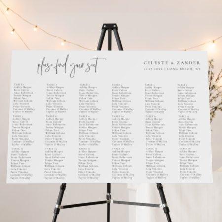 Modern Typography 18 Table Wedding Seating Chart Foam Board