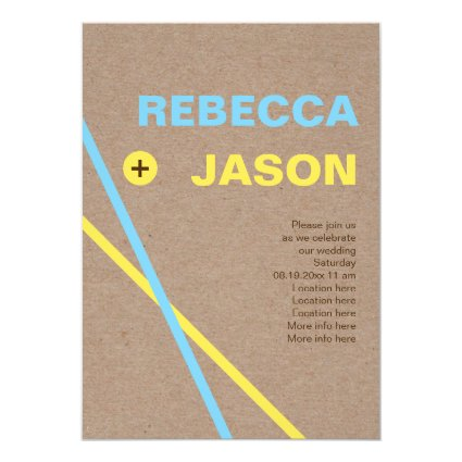 Modern typography and stripes minimalist colorful 5x7 paper invitation card