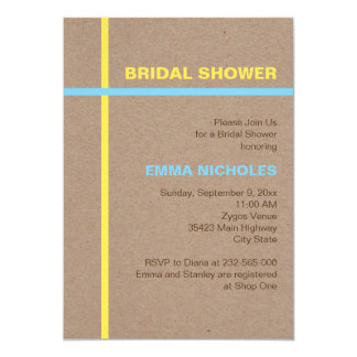 Modern typography and stripes rustic bridal shower card