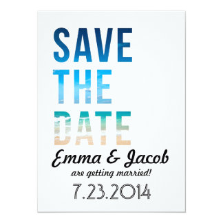 Modern Typography Beach Wedding Save The Date Card