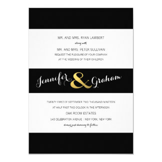 Modern Typography Black and White Stripes | Gold 5x7 Paper Invitation Card