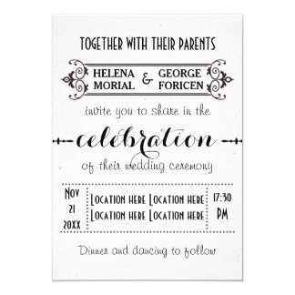 Modern typography black and white wedding card