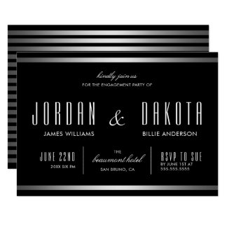 Modern Typography Black & Silver Engagement Party Card