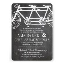 Modern Typography Chalkboard Vintage Bicycle Custom Invites