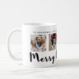 Modern Typography Christmas Four Photo Grid Coffee Mug
