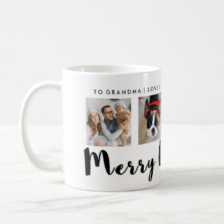 Modern Typography Christmas Four Photo Grid Coffee Mug