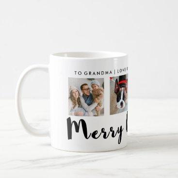 Christmas Themed Modern Typography Christmas Four Photo Grid Coffee Mug