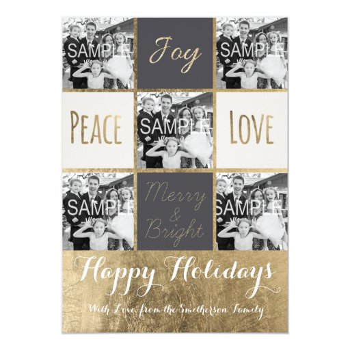 Modern typography Christmas gold photo collage 5x7 Paper Invitation Card