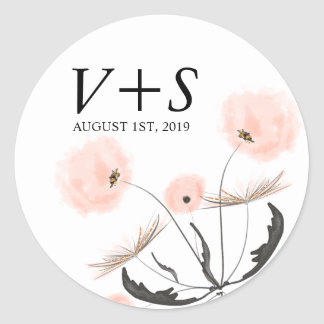 Modern Typography Dandelion Wedding Custom Favor Classic Round Sticker