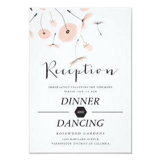 Modern Typography Dandelion Wedding Reception Card