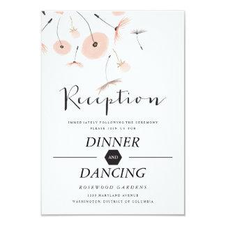 Modern Typography Dandelion Wedding Reception Card