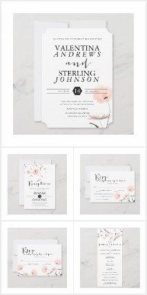 Modern Typography Dandelion Wedding Set