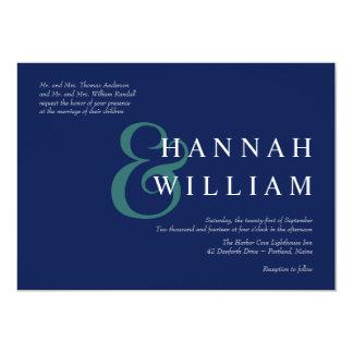 Modern Typography Deep Blue Wedding Invitations