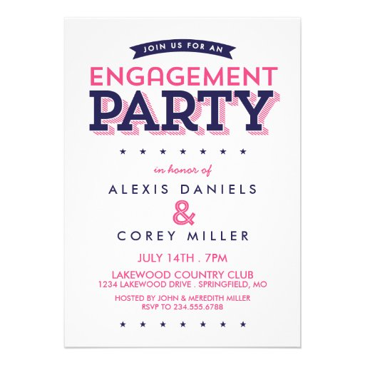 Modern Typography Engagement Party Custom Invitations
