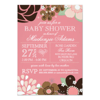 Modern Typography Floral Baby Shower Pink Brown 4.5x6.25 Paper Invitation Card