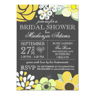 Modern Typography Floral Bridal Shower Gray Yellow Card