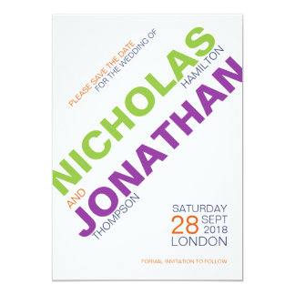 Modern Typography Gay Wedding Save The Date Cards