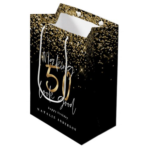 Modern typography gold glitter chic 50th birthday medium gift bag