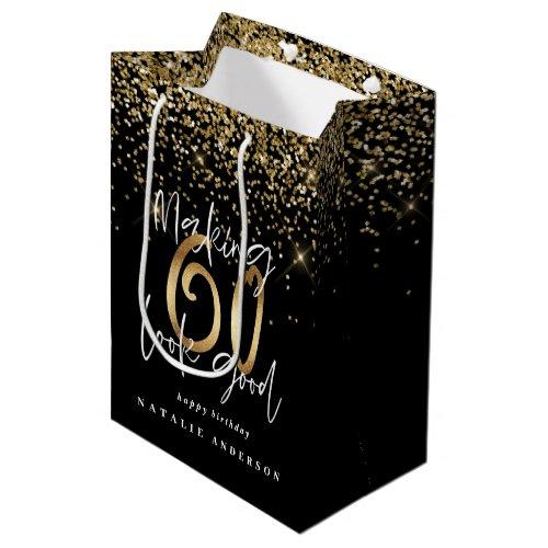 Modern typography gold glitter chic 60th birthday medium gift bag