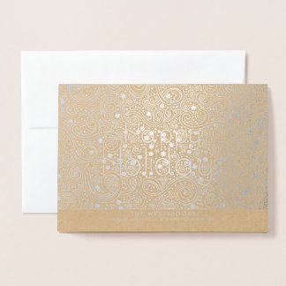 Modern Typography Happy Holidays Foil Card