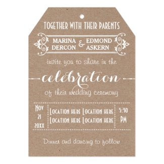 Modern typography kraft cardboard wedding 5x7 paper invitation card
