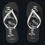 """Modern Typography """"Maid of Honor"""" Flip Flops<br><div class=""""desc"""">Personalized Bridal party flip-flops featuring an stylish and trendy script typography. Customize with the bride and groom's monogram, wedding date, and Maid of Honor's name for a one of a kind design! Looking for a custom color? No problem! Just send your request to heartlockedstudio at gmail dot com and we'll...</div>"""