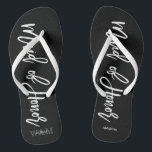 "Modern Typography ""Maid of Honor"" Flip Flops<br><div class=""desc"">Personalized Bridal party flip-flops featuring an stylish and trendy script typography. Customize with the bride and groom"