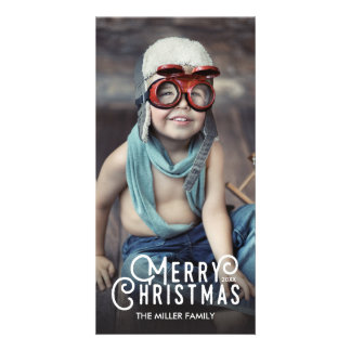 Modern Typography Merry Christmas Full-Bleed Photo Card
