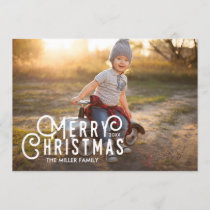 Modern Typography Merry Christmas Full-Bleed Photo Holiday Card