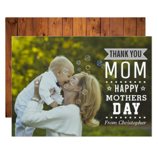 Modern Typography Overlay Happy Mother's Day Photo Card