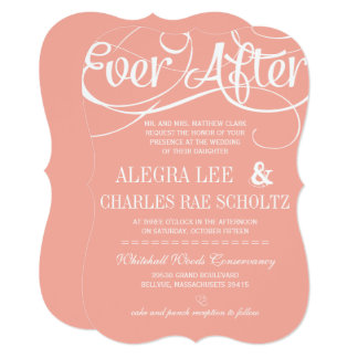 Modern Typography Peach Ever After Chalkboard Invitation
