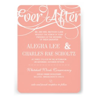 Modern Typography Peach Ever After Chalkboard Personalized Invitation
