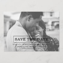 Modern Typography Photo Save the Date | Black