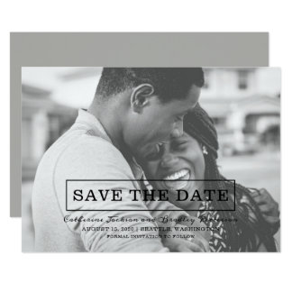 Modern Typography Photo Save the Date | Black Card