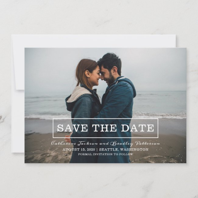Modern Typography Photo Save the Date | White