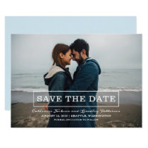 Modern Typography Photo Save the Date | White Card