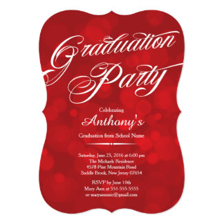 Modern Typography Red Bokeh Graduation Party Card