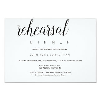 Modern typography rehearsal dinner invitations