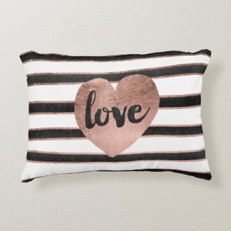 Modern typography rose gold hearts stripes love accent pillow