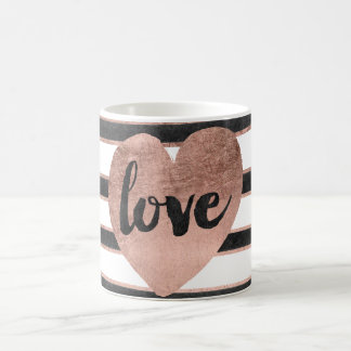 Modern typography rose gold hearts stripes love coffee mug