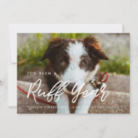 Modern typography Ruff Year Dog photo Holiday Card