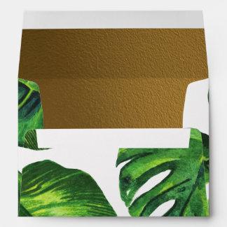 Modern Typography | Tropical Leaves & Gold Wedding Envelope