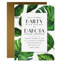 Modern Typography | Tropical Leaves & Gold Wedding Invitation