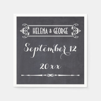 Modern typography, vintage chalkboard wedding disposable napkin