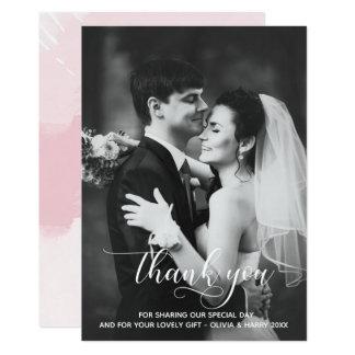 Modern Typography Wedding Thank You Photo Card