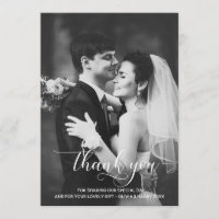 Modern Typography Wedding Thank You Photo Card