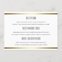 Modern Typography | White & Gold Wedding Guest Enclosure Card