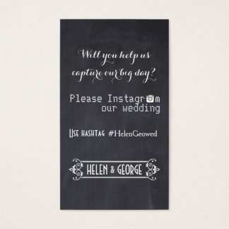 Modern typography with Instagram hashtag wedding Business Card